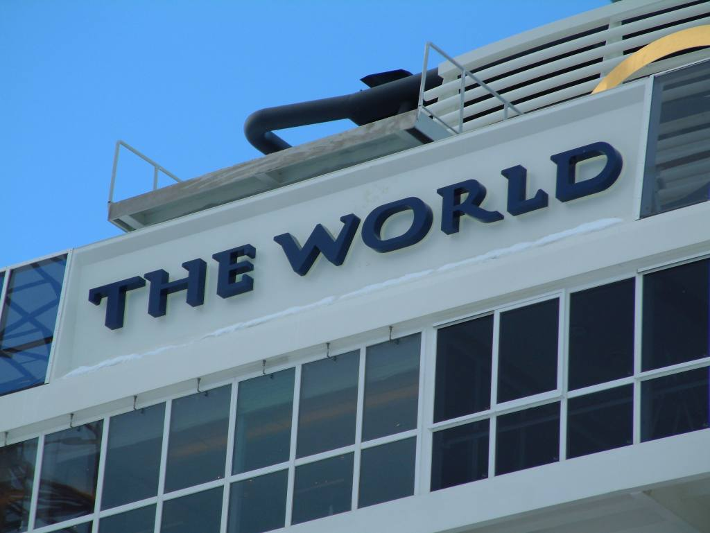 The World Logo on vessel